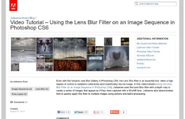 http://blogs.adobe.com/jkost/2012/08/video-tutorial-using-the-lens-blur-filter-on-an-image-sequence-in-photoshop-cs6.html