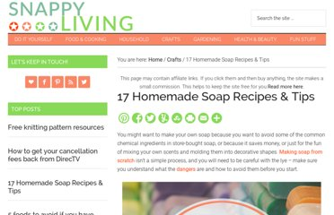 http://snappyliving.com/homemade-soap-recipes/