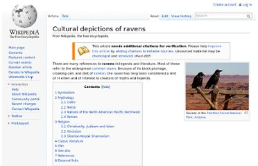http://en.wikipedia.org/wiki/Cultural_depictions_of_ravens#Islam.2C_Christianity_and_Judaism