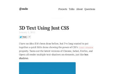 http://markdotto.com/2011/01/05/3d-text-using-just-css/