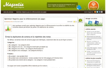 http://www.magentix.fr/divers/optimiser-magento-referencement-positionnement.html