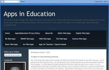 http://appsineducation.blogspot.com/2012/10/10-apps-for-documenting-learning.html
