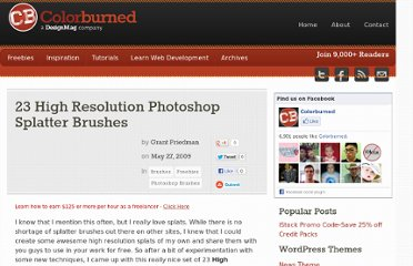 http://colorburned.com/23-high-resolution-photoshop-splatter-brushes/