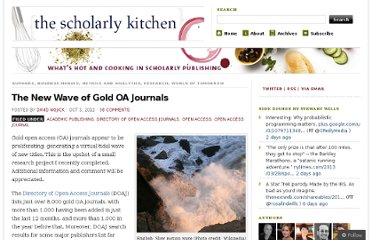 http://scholarlykitchen.sspnet.org/2012/10/03/the-new-wave-of-gold-oa-journals/