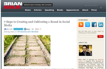 http://www.briansolis.com/2010/06/7-steps-to-creating-and-cultivating-a-brand-in-social-media/