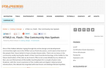 http://pelfusion.com/html5-vs-flash-the-community-has-spoken/