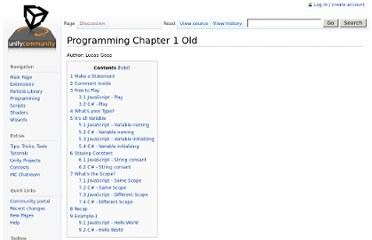 http://wiki.unity3d.com/index.php?title=Programming_Chapter_1_Old
