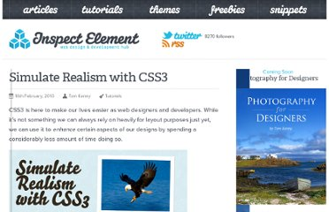 http://inspectelement.com/tutorials/simulate-realism-with-css3/
