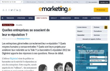 http://www.e-marketing.fr/Breves/Quelles-entreprises-se-soucient-de-leur-e-reputation-48849.htm
