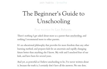 http://zenhabits.net/unschool/
