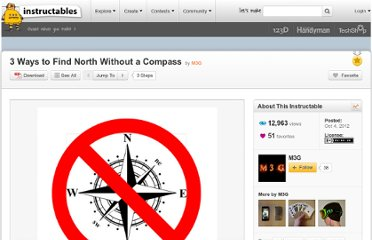 http://www.instructables.com/id/3-Ways-to-Find-North-Without-a-Compass/