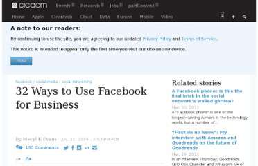 http://gigaom.com/2009/07/21/32-ways-to-use-facebook-for-business/