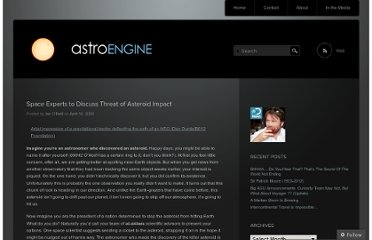 http://astroengine.com/2009/04/16/space-experts-to-discuss-threat-of-asteroid-impact/