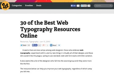 http://www.webdesignerdepot.com/2010/06/30-of-the-best-web-typography-resources-online/