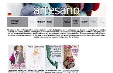 http://www.artesanoyarns.co.uk/Free%20Knitting%20Patterns/free%20knitting%20patterns.html