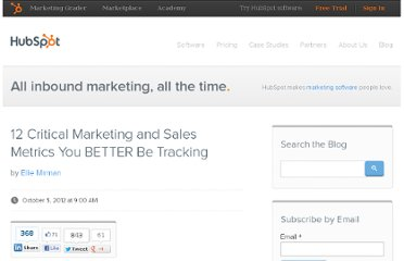 http://blog.hubspot.com/blog/tabid/6307/bid/33659/12-Critical-Marketing-and-Sales-Metrics-You-BETTER-Be-Tracking.aspx