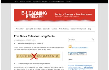 http://elearninguncovered.com/2012/10/five-quick-typography-rules/