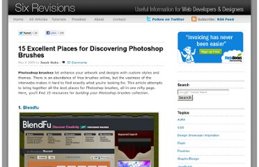 http://sixrevisions.com/photoshop/15-excellent-places-for-discovering-photoshop-brushes/