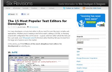 http://sixrevisions.com/web-development/the-15-most-popular-text-editors-for-developers/