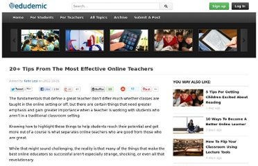 http://edudemic.com/2012/10/20-tips-effective-online-teachers/