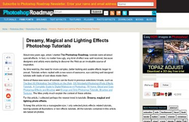 http://www.photoshoproadmap.com/Photoshop-blog/dreamy-magical-and-lighting-effects-photoshop-tutorials/