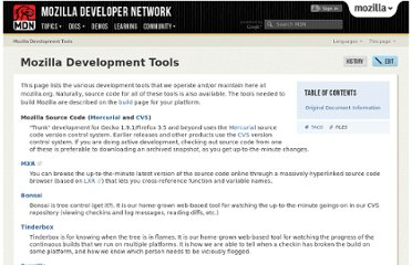 https://developer.mozilla.org/en-US/docs/Mozilla_Development_Tools