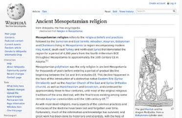 http://en.wikipedia.org/wiki/Religion_in_Mesopotamia