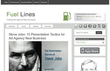 http://www.fuelingnewbusiness.com/2010/08/13/steve-jobs-10-tactics-to-sell-your-ideas-for-ad-agency-new-business/