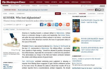 http://www.washingtontimes.com/news/2010/jun/24/who-lost-afghanistan/