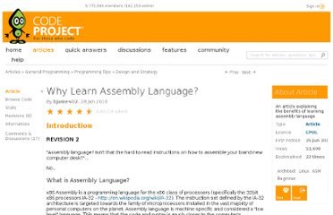 http://www.codeproject.com/Articles/89460/Why-Learn-Assembly-Language
