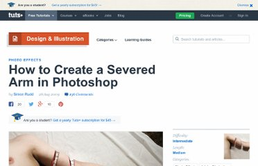 http://psd.tutsplus.com/tutorials/photo-effects-tutorials/severed-arm-in-photoshop/