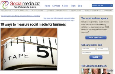 http://socialmedia.biz/2010/12/15/10-ways-to-measure-social-media-for-business/