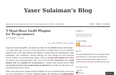 http://yaserxp.wordpress.com/2008/09/03/5-must-have-gedit-plugins-for-programmers/