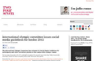 http://www.twofourseven.co.uk/international-olympic-committee-issues-social-media-guidelines-for-london-2012/