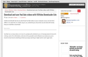 http://www.freewaregenius.com/download-and-save-youtube-videos-with-vsvideo-downloader-lite/