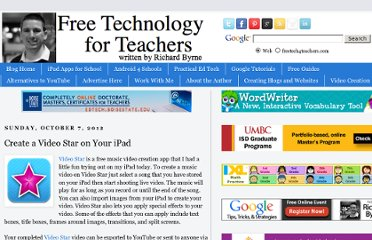 http://www.freetech4teachers.com/2012/10/create-video-star-on-your-ipad.html#.UHI8IpG9KSN