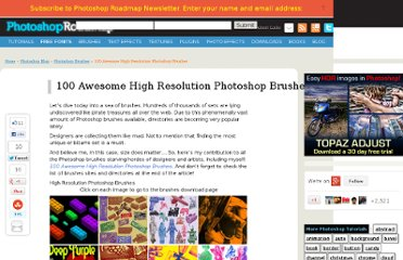http://www.photoshoproadmap.com/Photoshop-blog/100-awesome-high-resolution-photoshop-brushes/