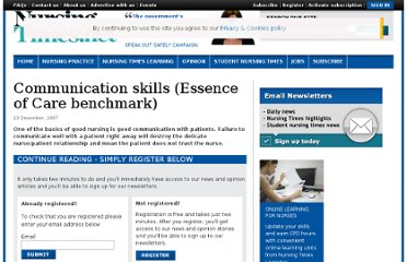 http://www.nursingtimes.net/nursing-practice/clinical-zones/educators/communication-skills-essence-of-care-benchmark/361127.article