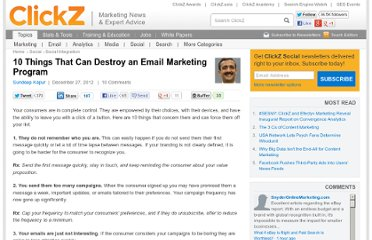 http://www.clickz.com/clickz/column/2215513/10-things-that-can-destroy-an-email-marketing-program
