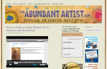 http://theabundantartist.com/how-to-build-an-artist-website-in-10-minutes-with-wordpress/