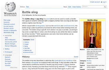 http://en.wikipedia.org/wiki/Bottle_sling