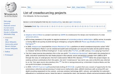 http://en.wikipedia.org/wiki/List_of_crowdsourcing_projects