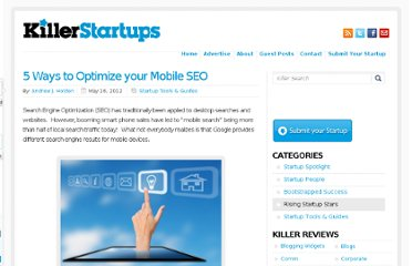http://www.killerstartups.com/startups-tools-and-guides/5-ways-to-optimize-your-mobile-seo/