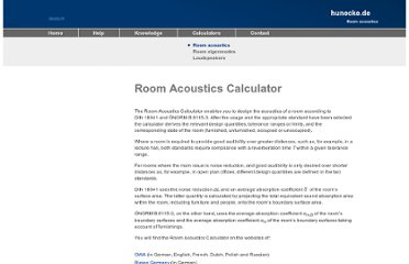 http://www.hunecke.de/en/calculators/room-acoustics.html