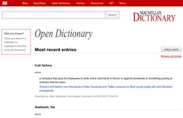 http://www.macmillandictionary.com/open-dictionary/latestEntries.htm