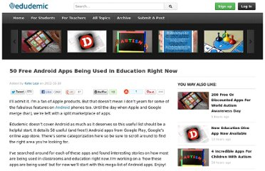 http://edudemic.com/2012/10/50-free-android-apps-being-used-in-education-right-now/
