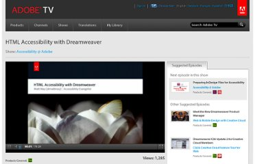 http://tv.adobe.com/watch/accessibility-adobe/html-accessibility-with-dreamweaver-/
