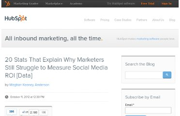http://blog.hubspot.com/blog/tabid/6307/bid/33672/20-Stats-That-Explain-Why-Marketers-Still-Struggle-to-Measure-Social-Media-ROI-Data.aspx