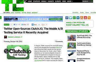 http://techcrunch.com/2012/10/11/twitter-open-sources-clutch-io-the-mobile-ab-testing-service-it-recently-acquired/
