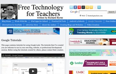 http://www.freetech4teachers.com/p/google-tools-tutorials.html